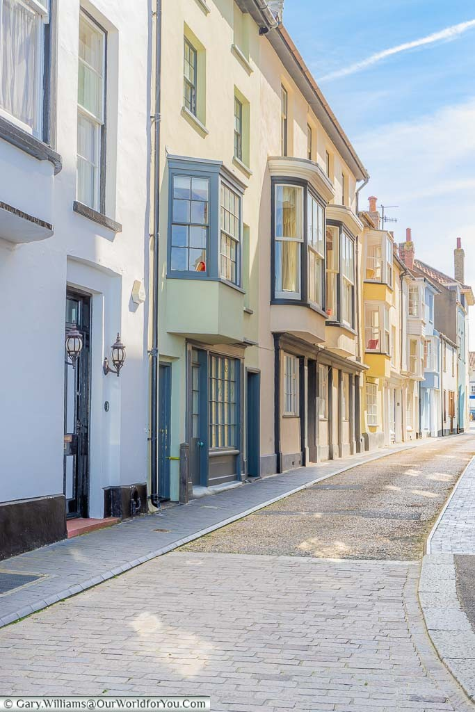 Colourful terraced houses in Jetty Street, Cromer, Norfolk