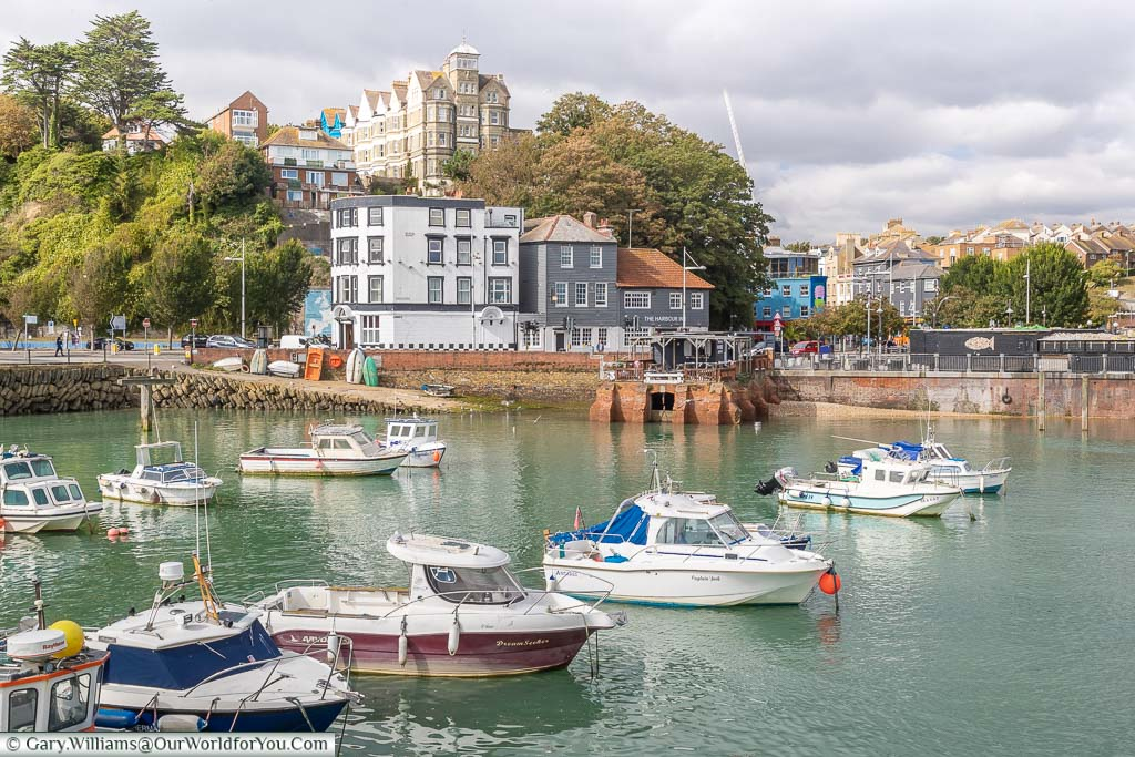 A Harborview of Folkestone looking towards the slipway and the Old Town in the distance.