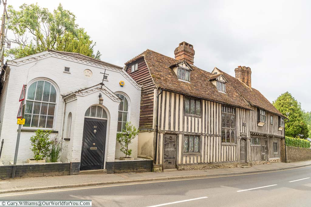 The 16th-century timber-framed Pickmoss on the High Street of the village of Otford, Kent