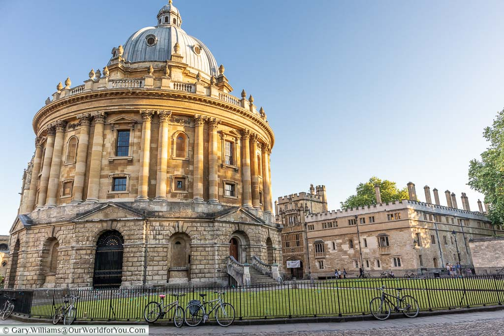 The Radcliffe Camera in Oxford as the sun goes down on a summer's day. Is just like a scene from Inspector Morse.