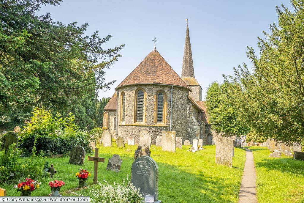 A view of the Apse end of St Martin's Church in Eynsford, from the churchyard