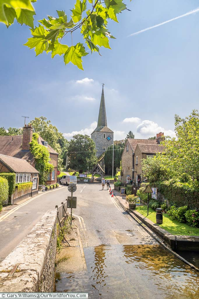 The view of St Martin's Church from the top of Eynsford bridge