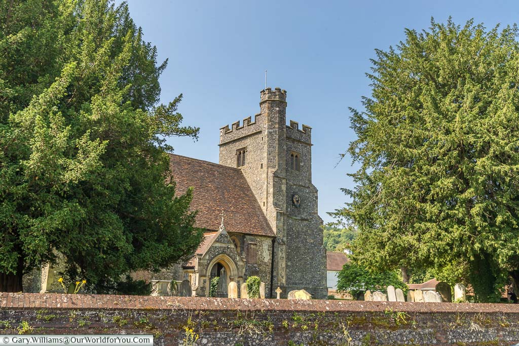The flint built Norman church of St. Peter and St. Paul's in the centre of Farningham, Kent