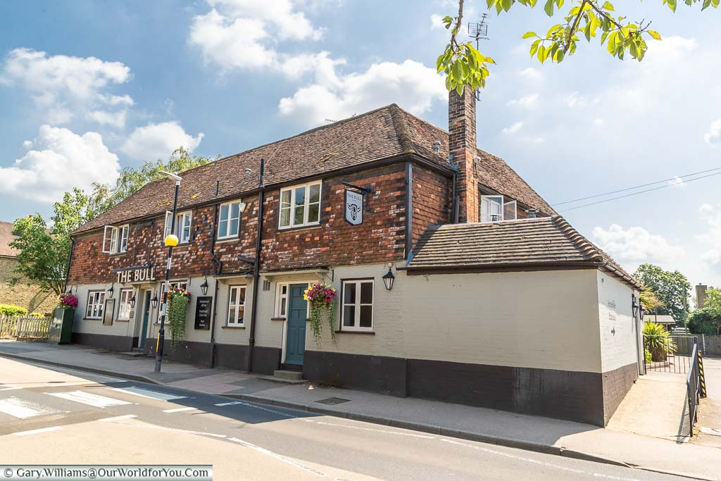 The Bull pub on the High Street of the village of Otford, Kent