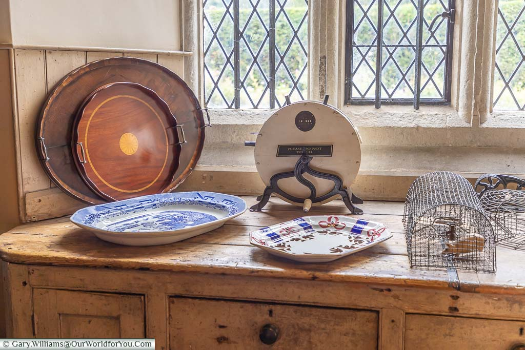 Period kitchen features lined up in the Butler's Pantry of Ightham Mote