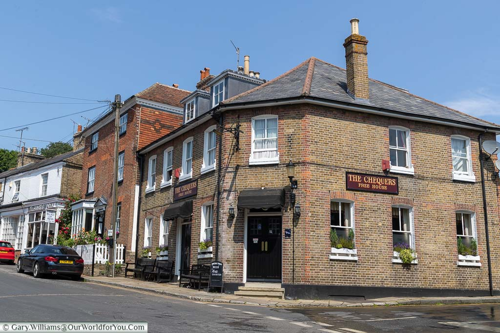 The brick-built Chequers Inn on the corner of Dartford road and the High Street in Farningham, Kent