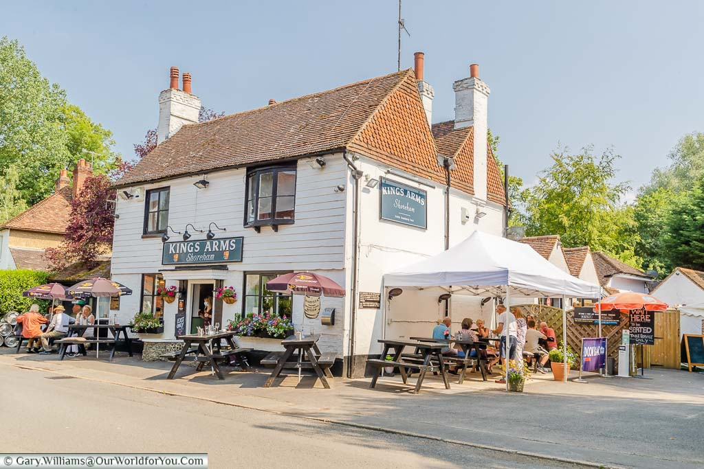 The historic, white weather-boarded, King's Arms Pub in Shoreham, Kent