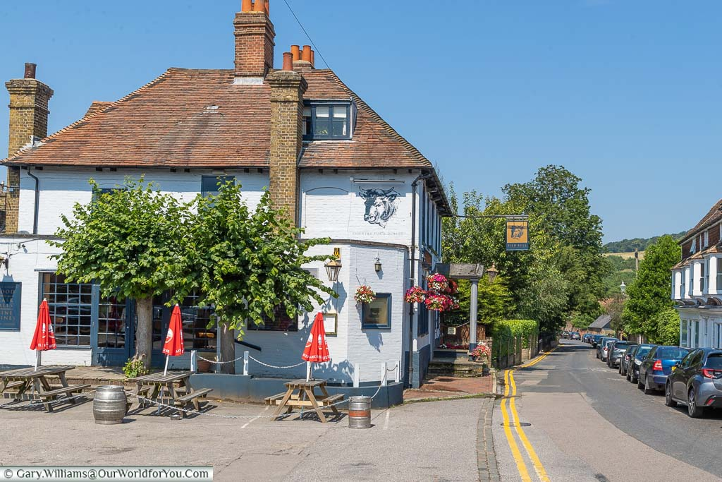 The well maintained Pied Bull pub on Farningham high street once used to be a historic coaching inn.