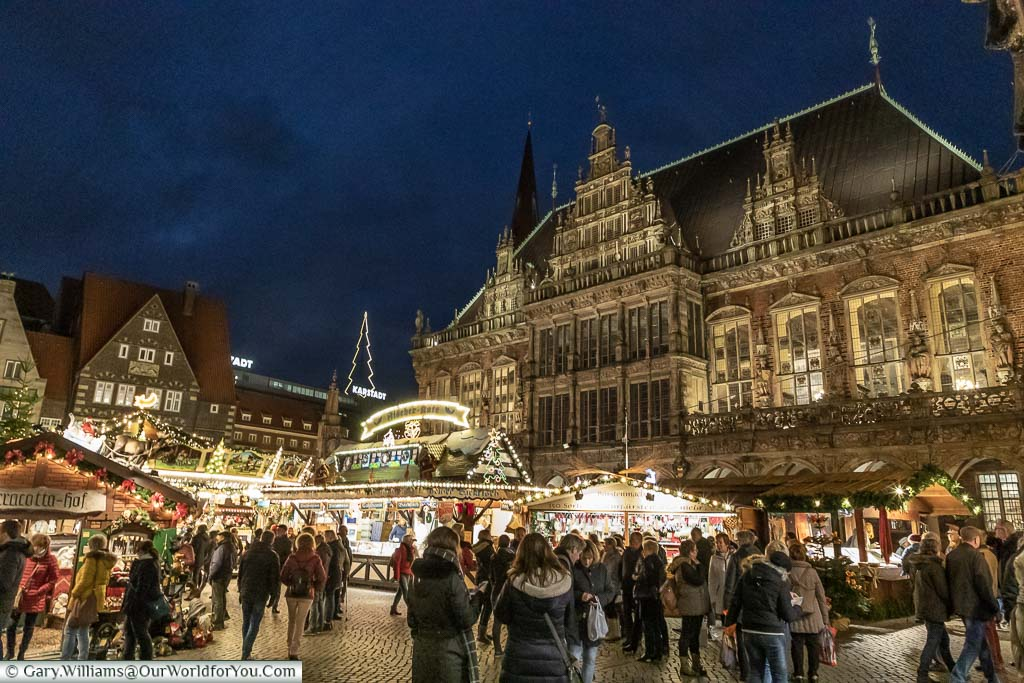 The illuminated Rathaus in Bremen after the sun has gone down.