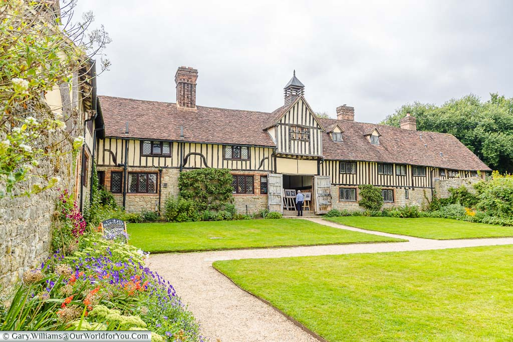 The medieval farm buildings that line the Stable Courtyard of Ightham Mote.