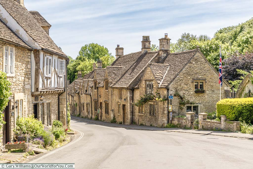 Looking down 'The Street' in the picturesque village of Castle Combe in Wiltshire