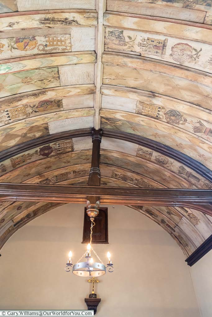 The decorated barreled ceiling in Ightham Mote's 16th-century New Chapel