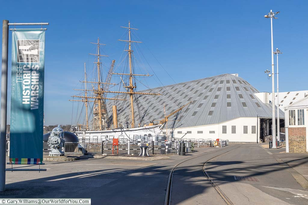 A view from the Historic Dockyard Chatham with HMS Gannet moored in a dry dock in front of #3 slip.