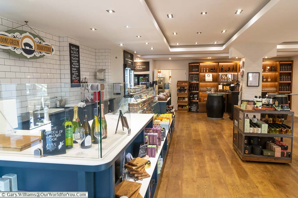 The inside Chapel Down shop selling all things wine as well as local artisan products