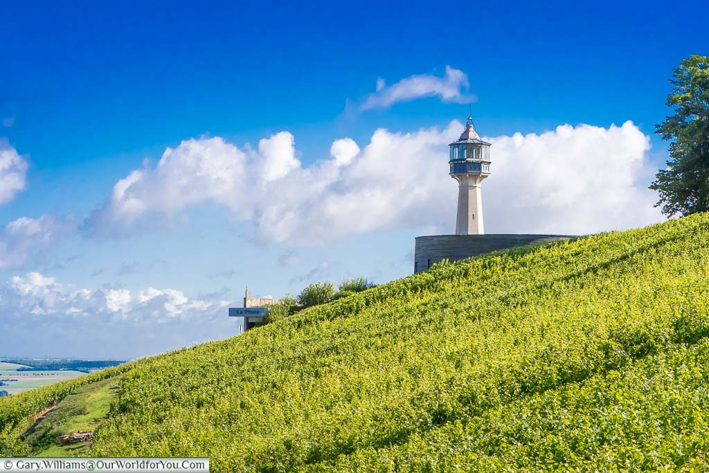 The lighthouse, built as a folly, between the champagne vines at Verzy, France