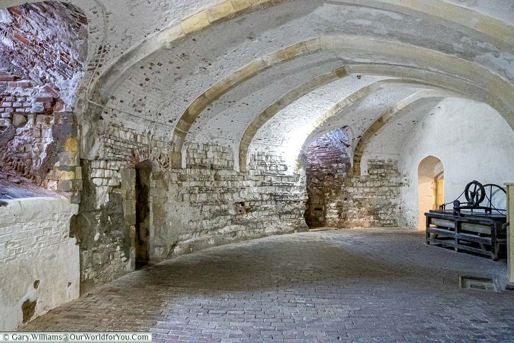 A circular stone faulted basement within Deal Castle