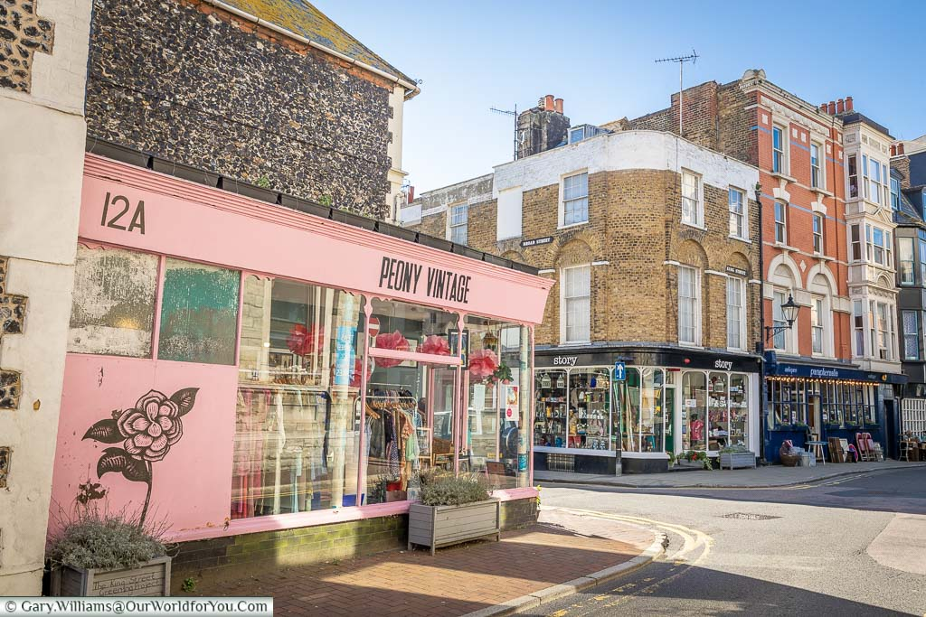Boutique shops in the centre of Margate's now trendy old town