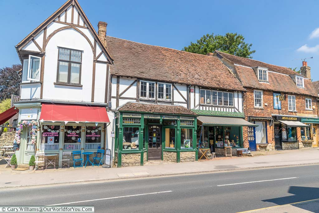 A range of independent little shops set in the base of historic buildings on Otford High Street