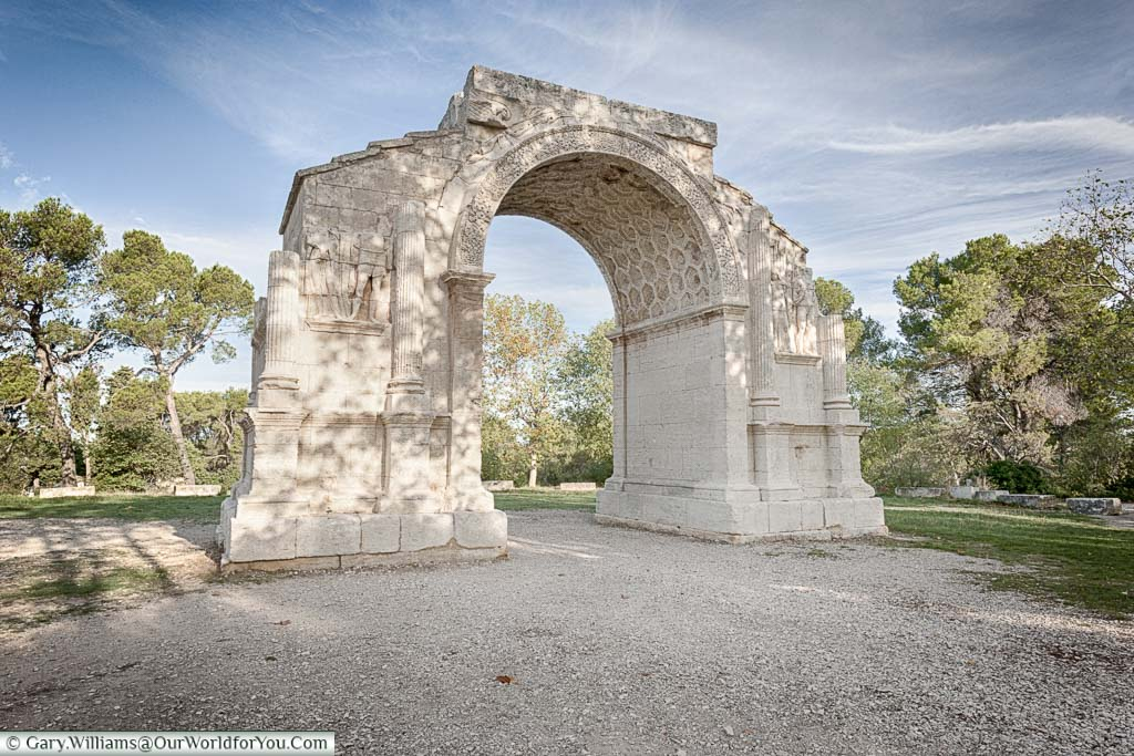 A free standing Roman triumphal arch on the outskirts of St Remy de province.