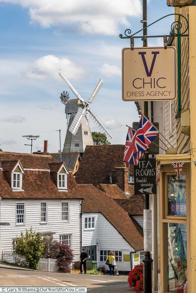 Looking along the top end of the High Street where a selection of independent stores find home in the half-timbered historic buildings of Cranbrook.