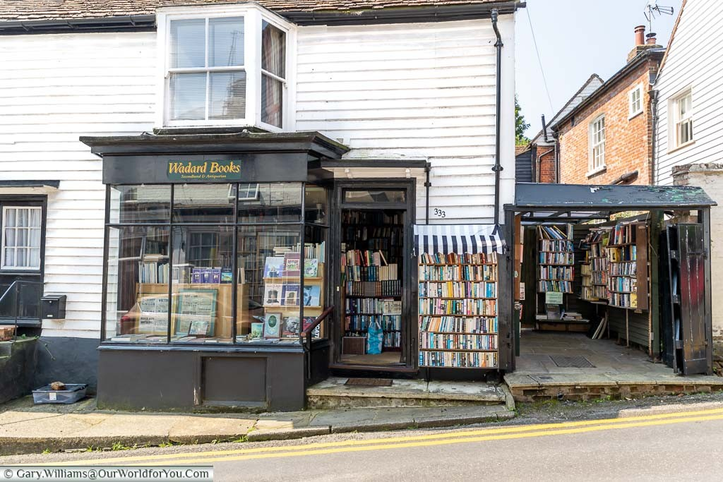 The Wadard Antiquarian Books store with its white weatherboarded exteriors, trimmed in black edges, in Farningham, Kent