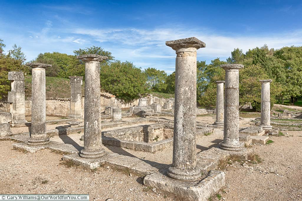 Columns that once formed part of the Roman temple at the Glanum site on the outskirts of Saint Remy de Provence