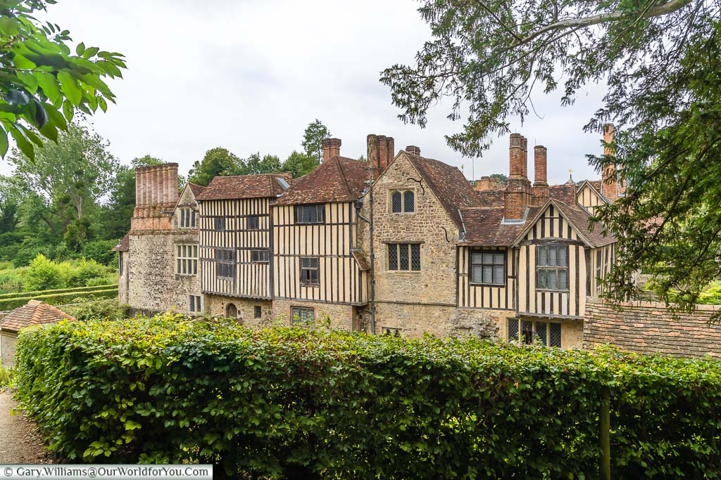 The first view of the medieval Ightham Mote manor house after leaving the visitors centre.