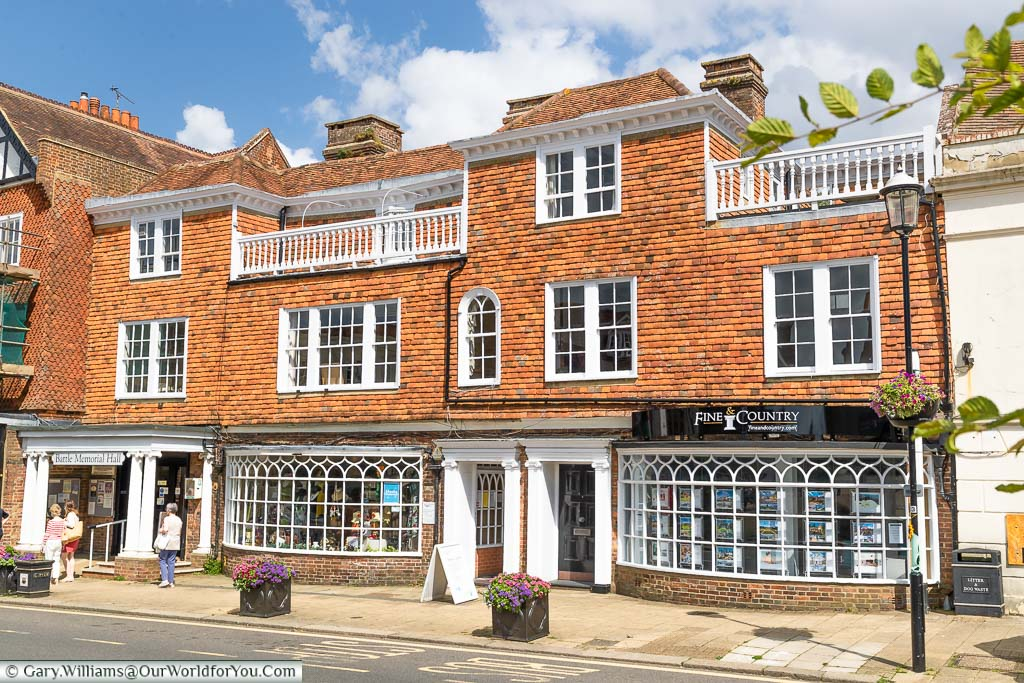 The historic Langton Hall, with it's red-tiled faced on Battle High Street, East Sussex
