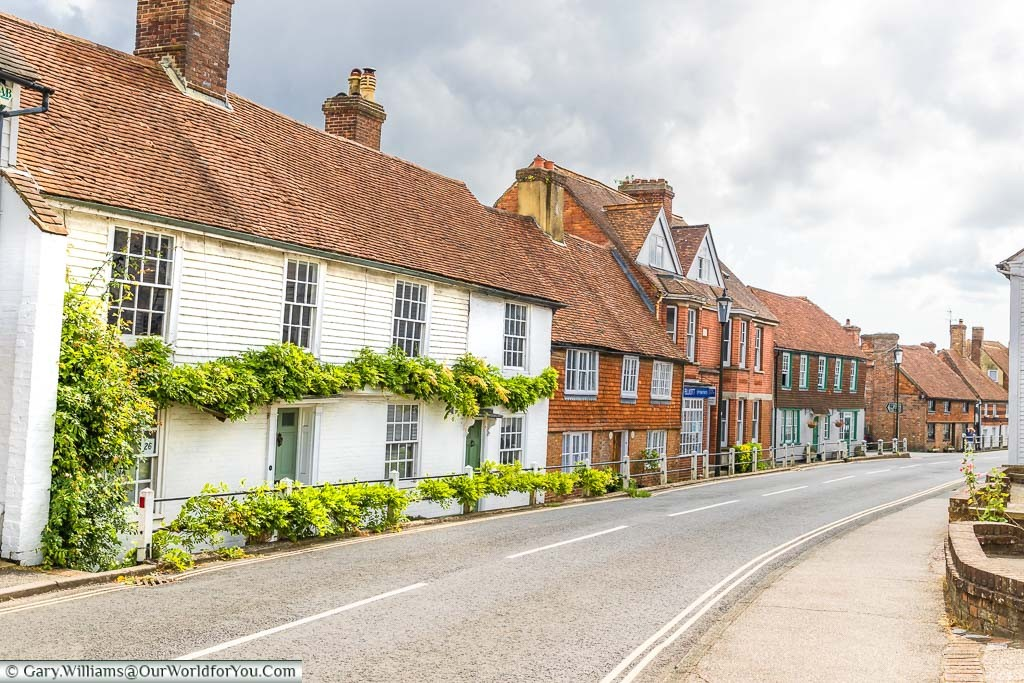 A mixture of historic buildings along Mount Street in Battle, East Sussex