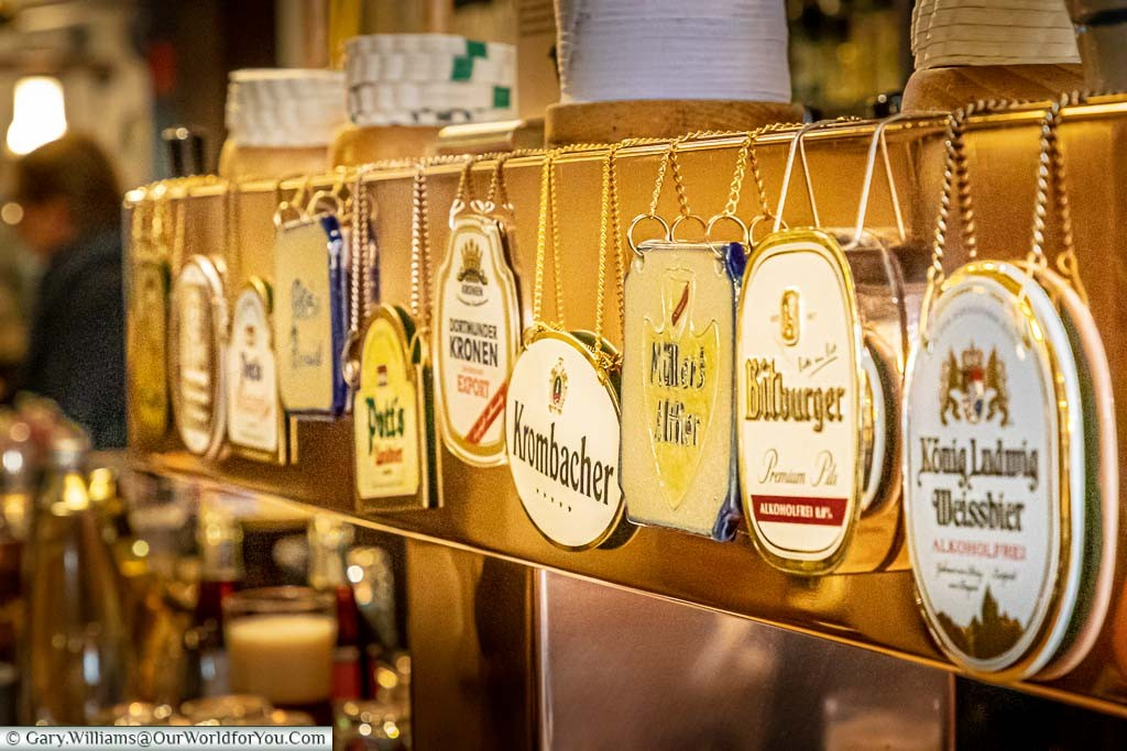 The beer signs of the selection of ales available in Altes Gasthaus Leve. The range of beers offers a choice from around Germany, including a local ale.