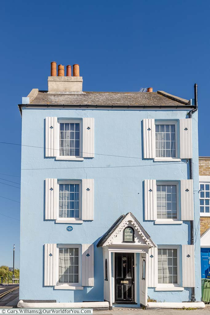 The gorgeous powder blue and white Albion Lodge, a Victorian end of Terrace home, in Margate, Kent
