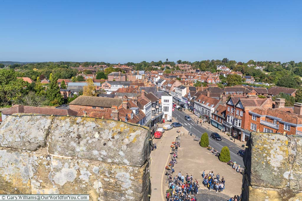 Looking down from the ramparts of Battle Abbey to Abbey Green and the High Street of Battle beyond