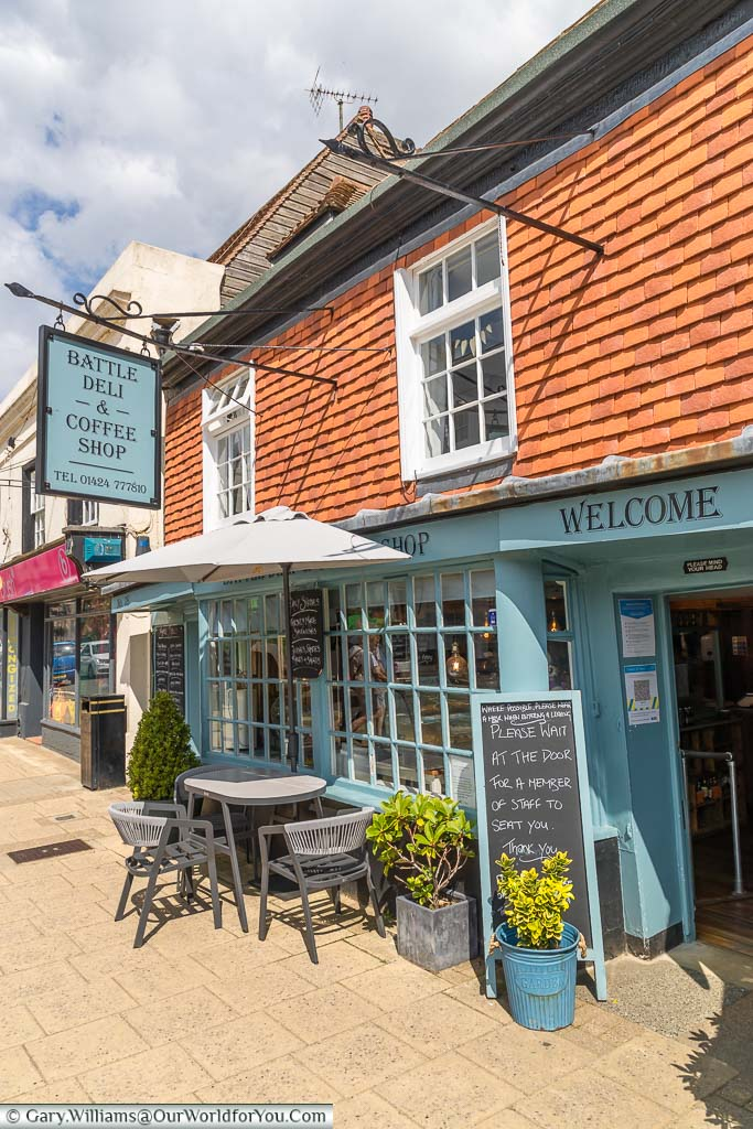 The welcoming looking Battle Deli & Coffee shop set in a historic building on Battle High Street, East Sussex