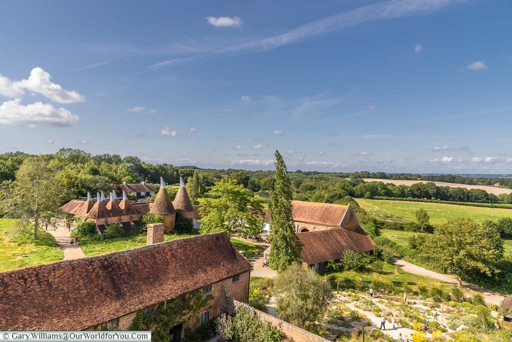 A view from Sissinghurst Castle tower to the oast houses & Elizabethan barn in the estate grounds