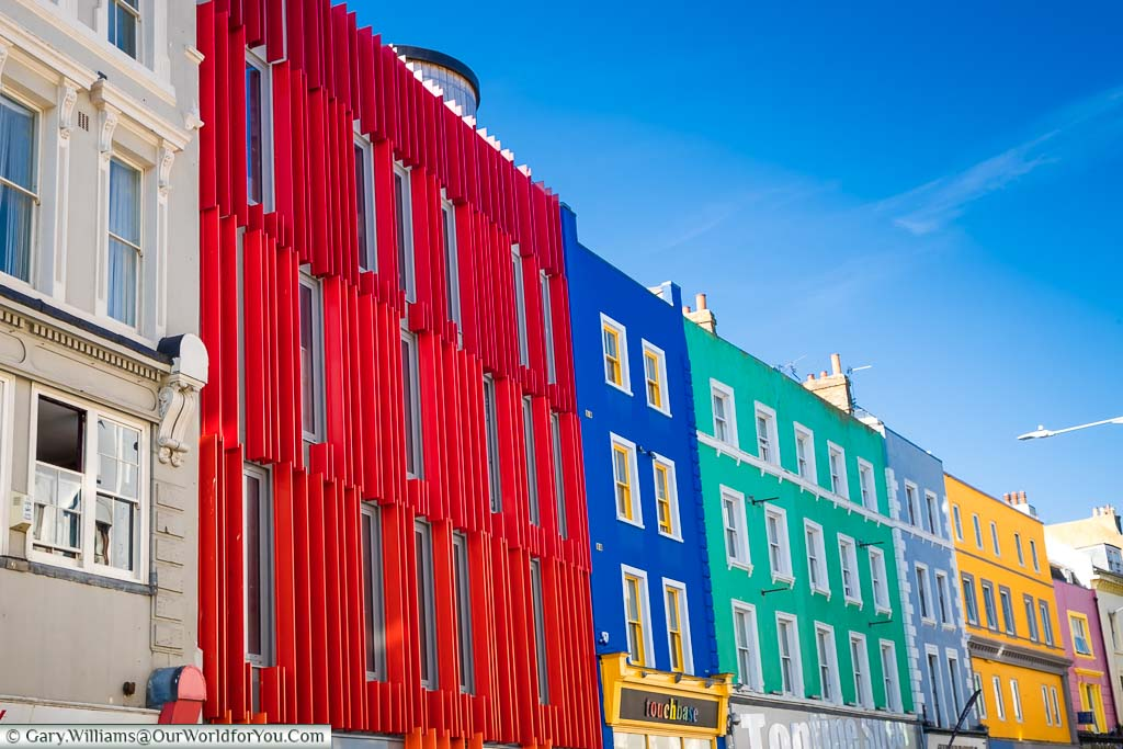 Brightly colour buildings along Tontines Road, Folkestone that make up part of Creative Folkestone.