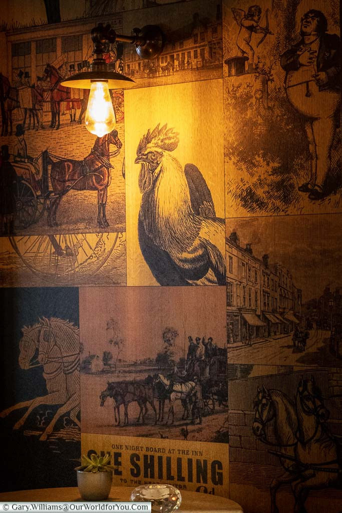 The Dickensian themed wallpaper lining the Dozens bar in the White Horse Hotel, Dorking