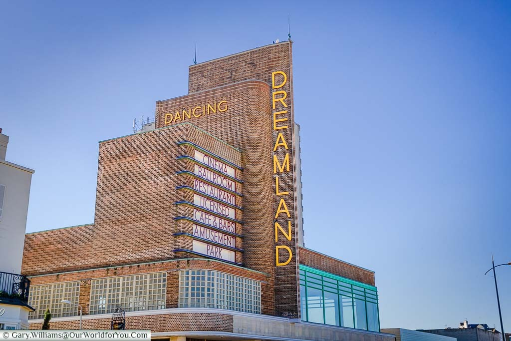 The classic 1920's towering brick-built entrance to Dreamland in Margate