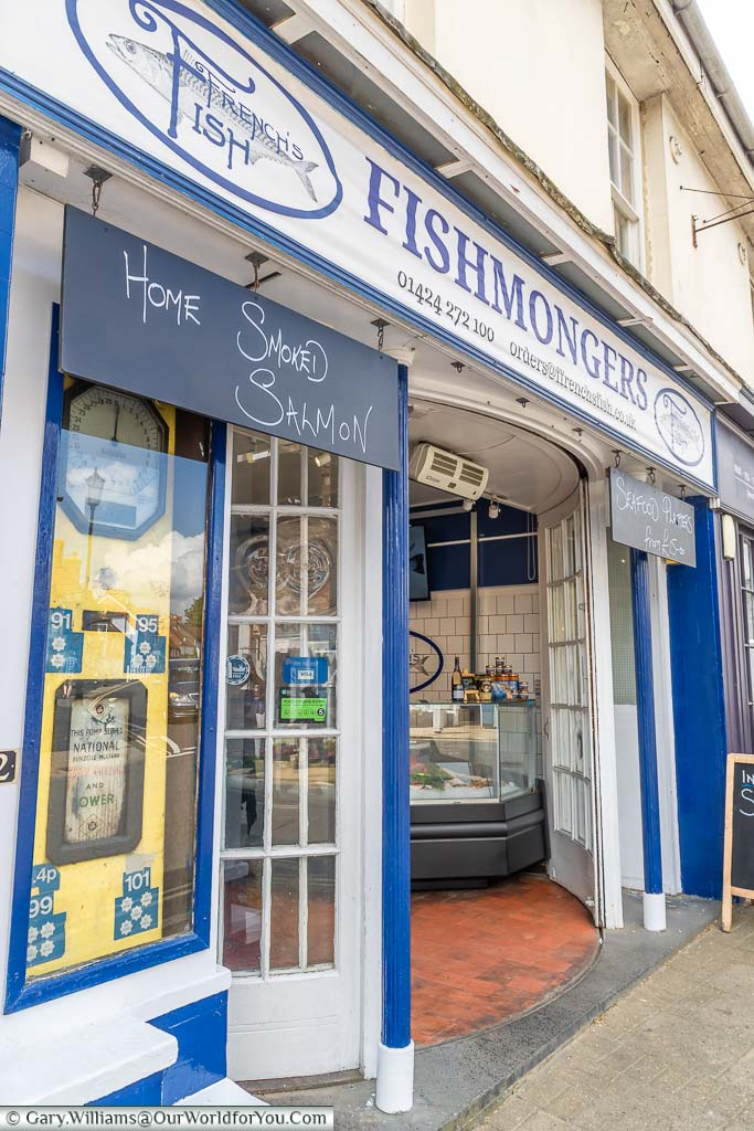 The facade to Ffrench's Fish fishmongers on Battle High Street, East Sussex