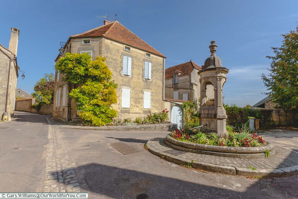 A pretty little square in the picturesque village of Flavigny-sur-Ozerain in the Côte-d'Or region of France