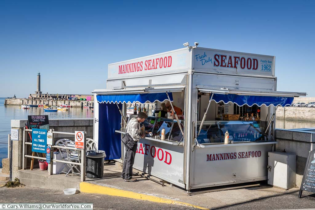 The Mannings seafood stall at the edge of Margate's harbour