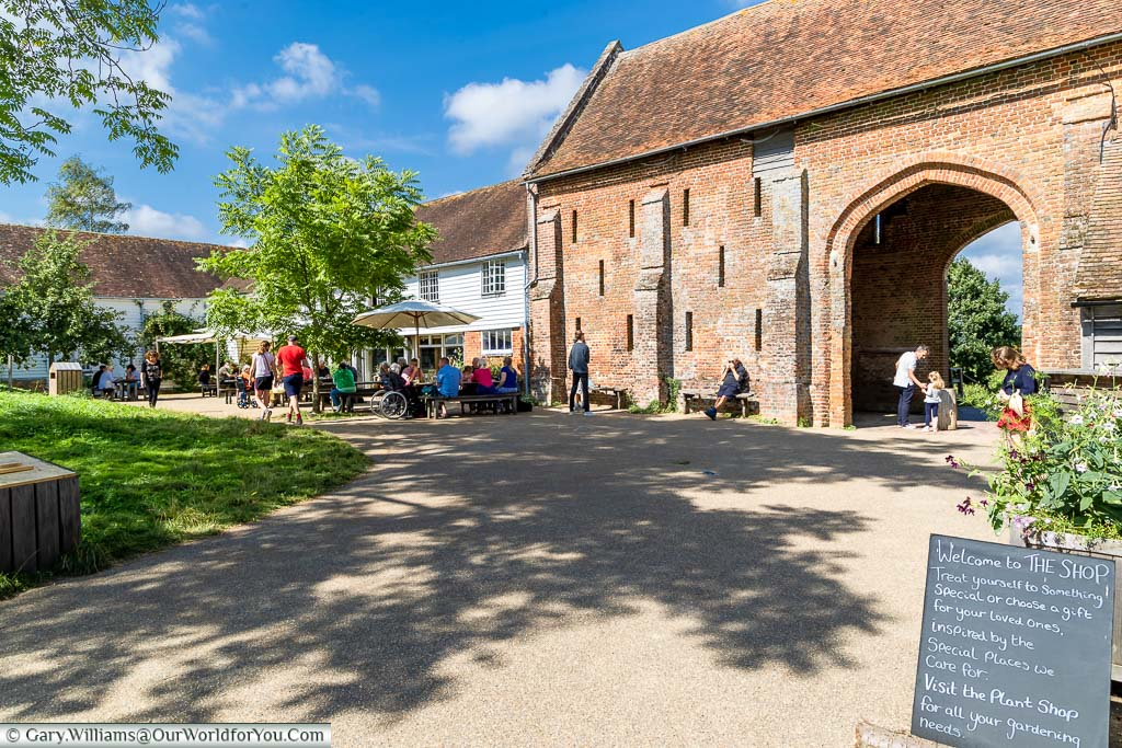 A view of the Granary Restaurant attached to the 16th century Elizabethan barn at Sissinghurst Castle Garden