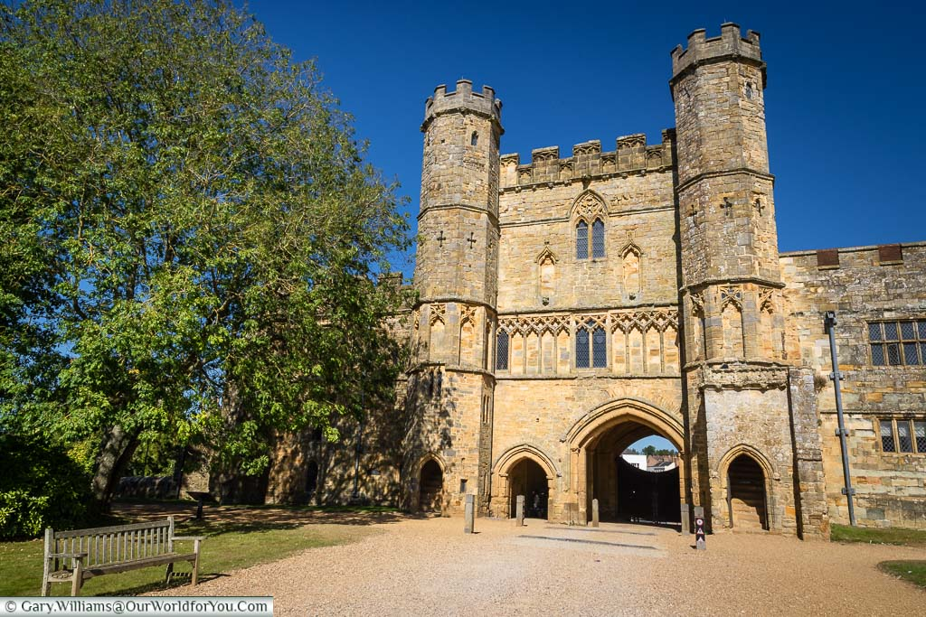 The twin-towered medieval gatehouse of Battle Abbey.