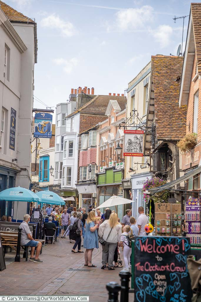 A view along George Street in Hastings, home to many a fine pub