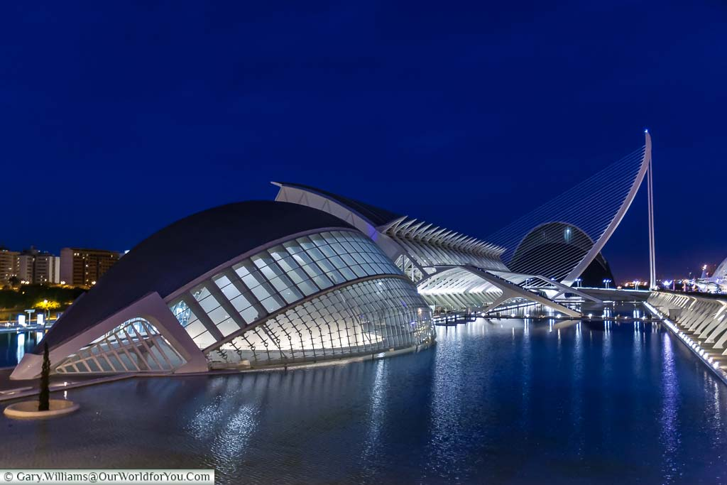 A shot of the Hemisferic at dusk in the City of Arts & Science in Valencia, Spain