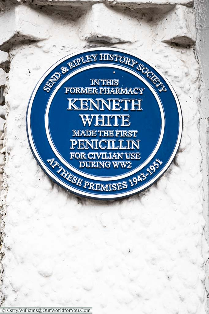 A blue plaque issued by the Send & Ripley History Society to Kenneth White.