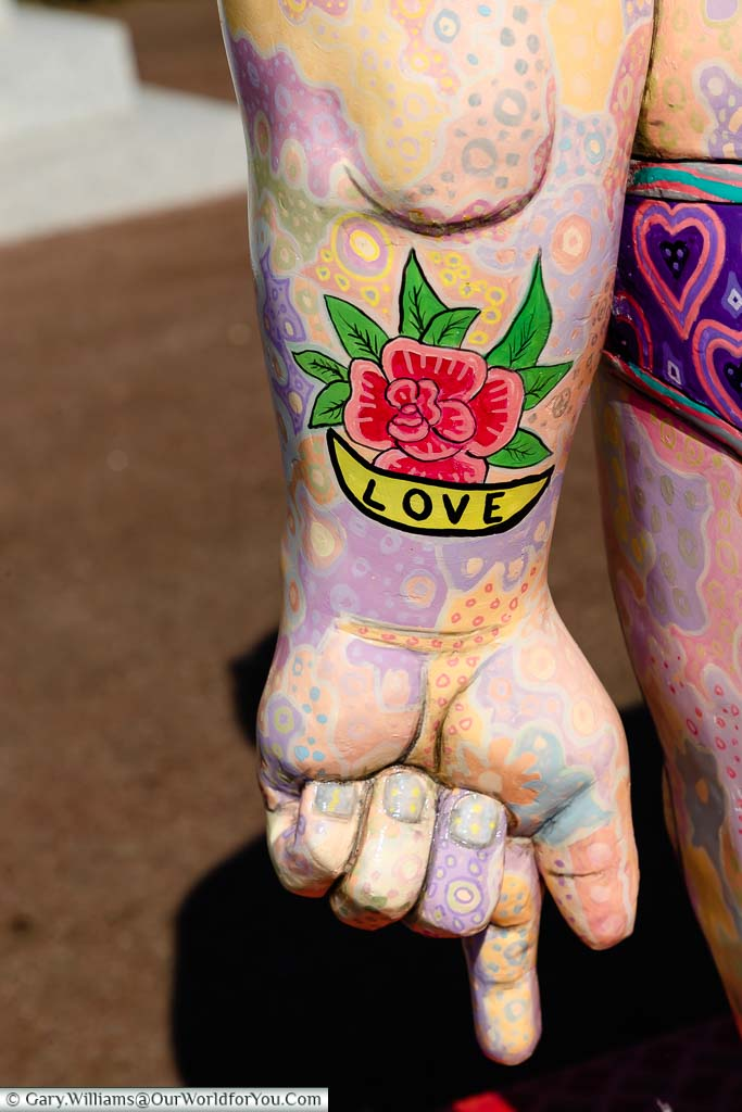 A close up of the tattoo on the left arm of the statue 'I Am Argonaut' as part of the Folkestone Triennial