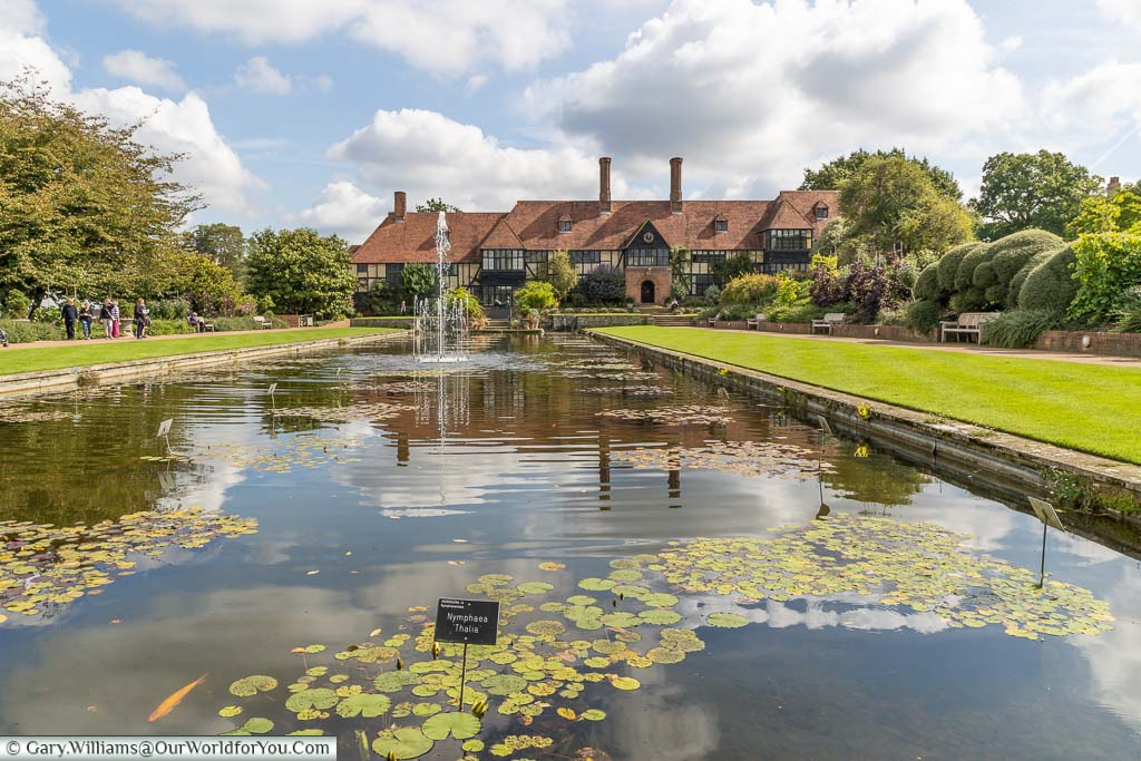 Looking along the Jellicoe canal lily pond, past its fountain, to the Tudor building, now known as The Laboratory.
