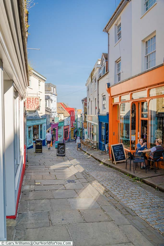 Looking down the Old High Street in the creative quarter of Folkestone