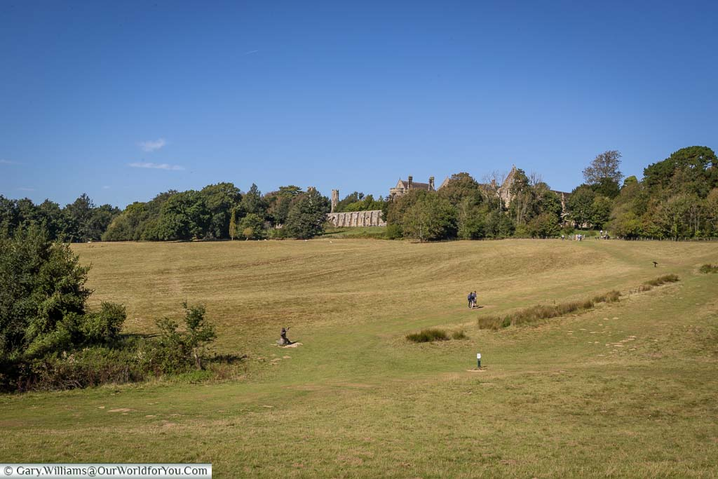 The view of the battlefield towards the Abbey across the undulating landscape.