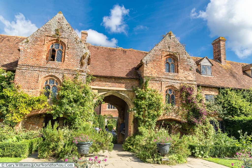 The red-brick front of the manor house of Sissinghurst Castle, Sissinghurst Castle Garden, Kent, England